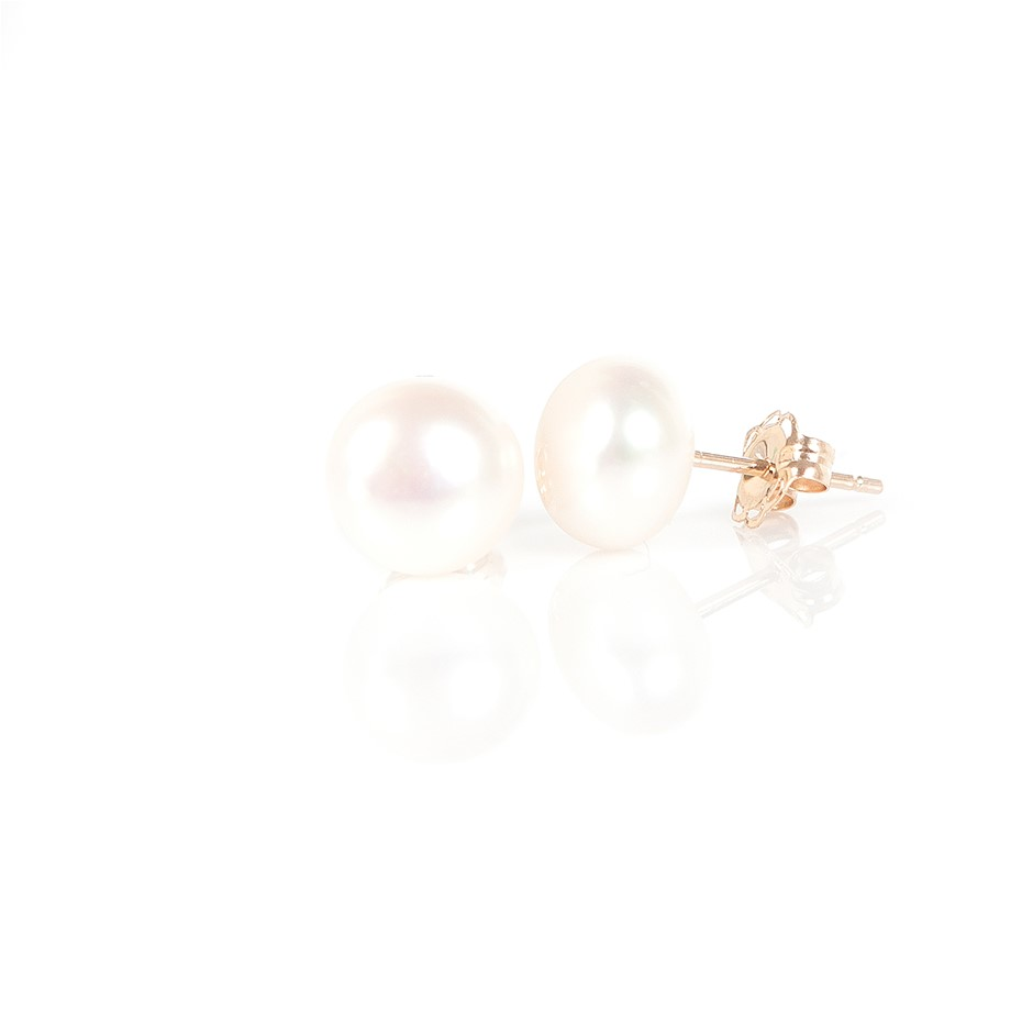 White Freshwater Pearl Gold Stud Earrings