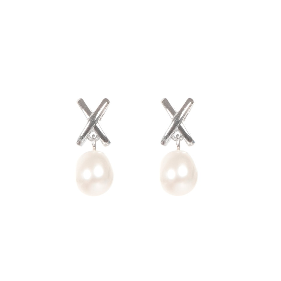 White freshwater pearl earrings in sterling silver