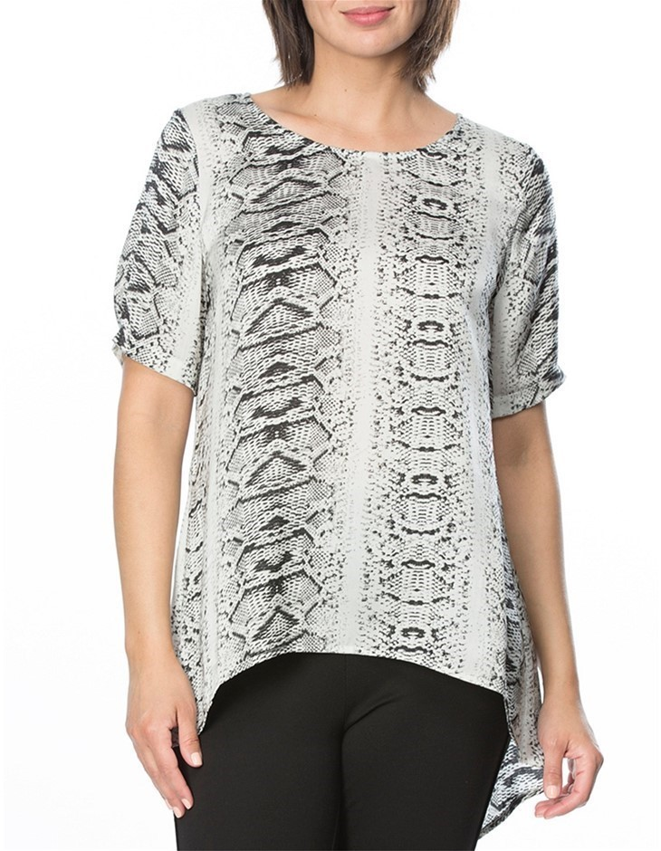 HAMMOCK AND VINE Animal Print Top. Size 16, Colour: Silver Print. 100% Poly