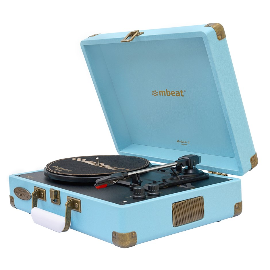 mbeat Woodstock 2 Sky Blue Retro Turntable Player