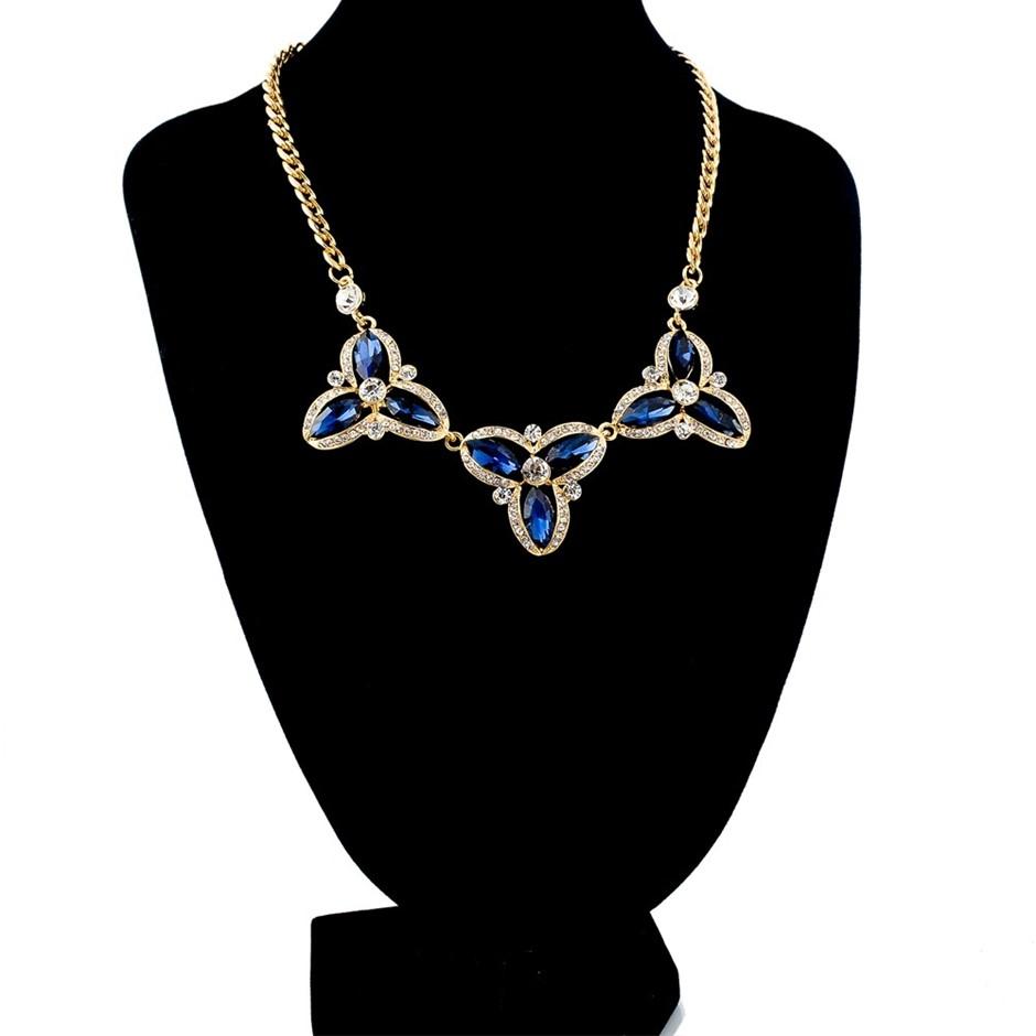 18k Gold-filled flower imitation ethnic Blue statement necklaces