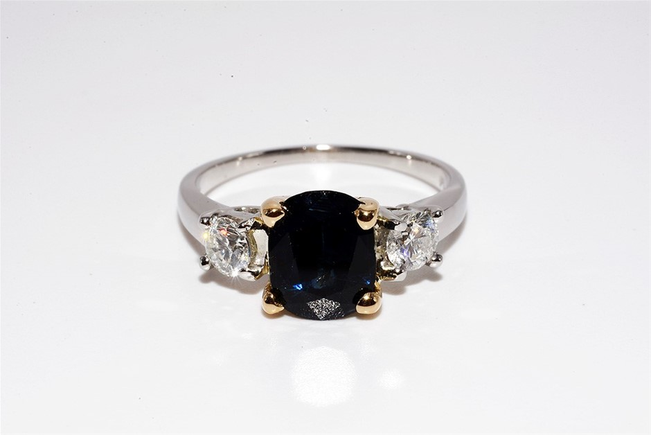 18ct Yellow Gold, 2.23ct Blue Sapphire and Diamond Ring