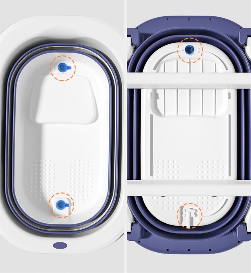 1030x650mm Eco-friendly Foldable Adult Baby TPE Bathtub Oval Water Tub