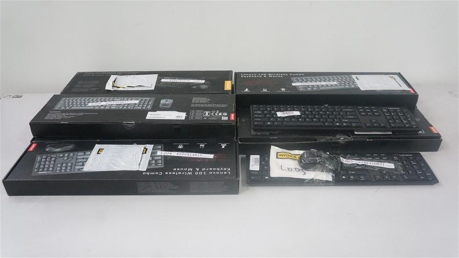 Box of USED/UNTESTED Lenovo Keyboard and Mice Bundle