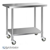 Unused 1524mm x 760mm Stainless Steel Bench Including 4 x Casters