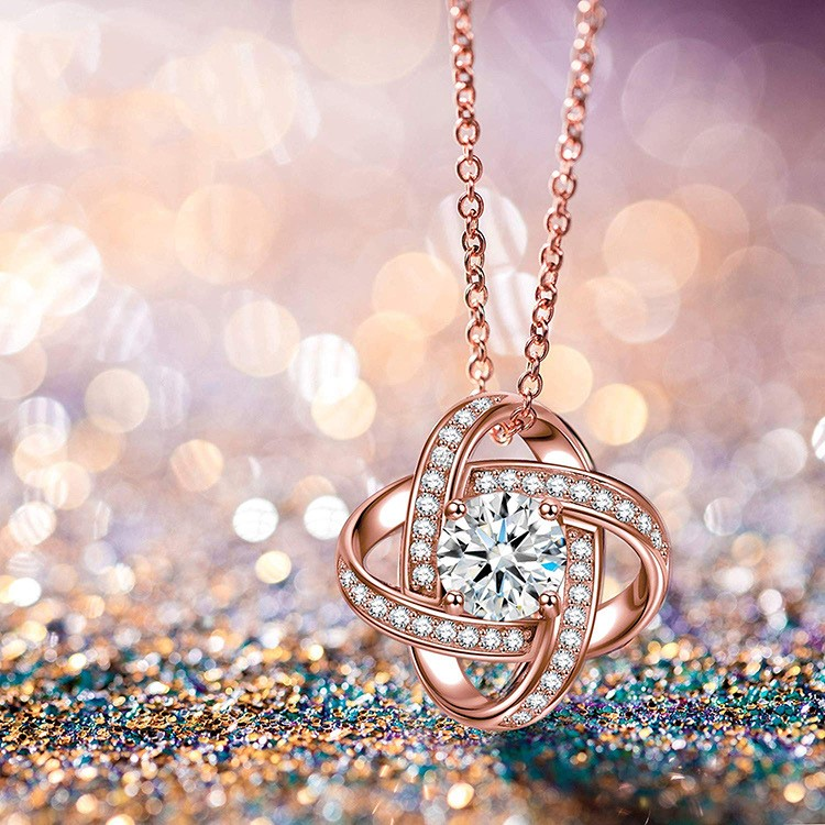 SimplySelena Cosmo Pendant With Complementary Necklace in Rose Gold