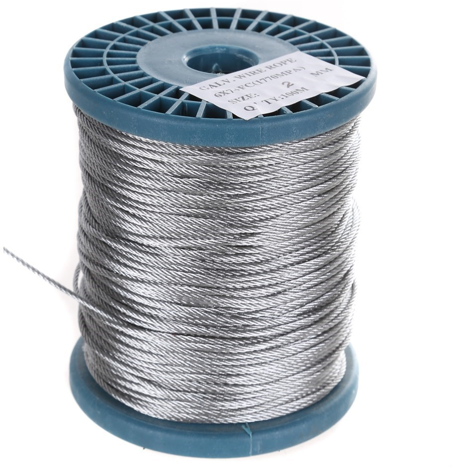 Reel 100M x Galv. Wire Rope, 2.0mm Dia. Construction 6x7 FC. Buyers Note -