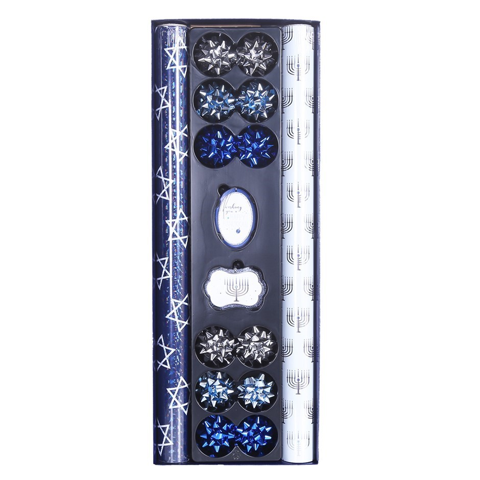 TOM SMITH Hanukkah Gift Wrapper Set with 2 x Rolls Paper, Co-ordinating Tag