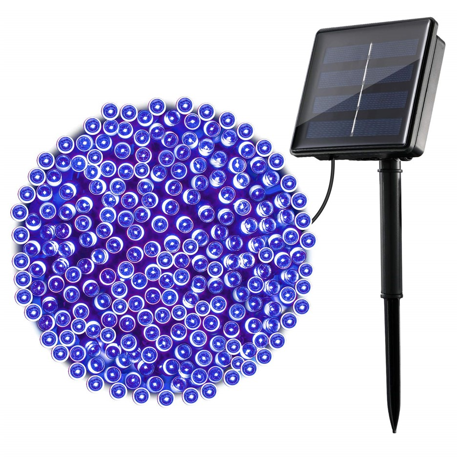 Solar Powered 200 LED 15.9M Blue String Lights