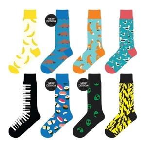 8 Pairs Unisex Novelty Crew Sock Cotton