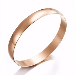 Wide 18ct Rose Gold Layered Plain Bangle