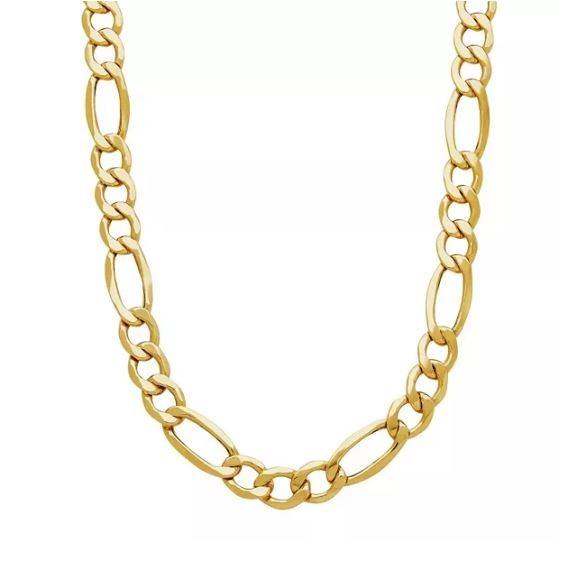 """18ct Yellow Gold Layered Chunky Figaro Chain Necklace - 18"""""""