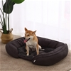 Charlie's Pet Faux Fur Bed with Padded Bolster Grey 50.5*40.5*12.5cm