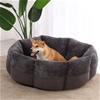 Charlie's Pet Faux Fur Calming Bed with Bolster Round Grey D90*40cm