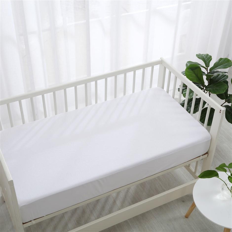 Dreamaker Bamboo Terry Cot Waterproof Mattress Protector White Standard