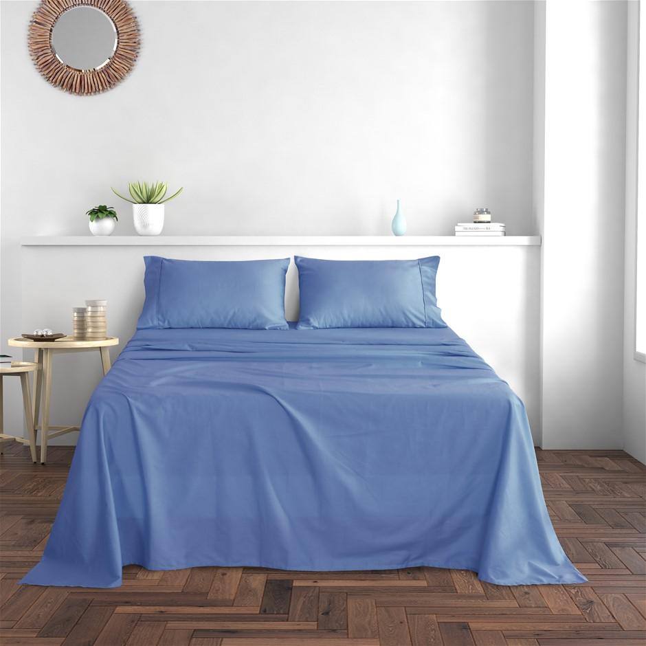 Dreamaker Cotton Sateen 300TC Sheet Set Costal Blue King Bed