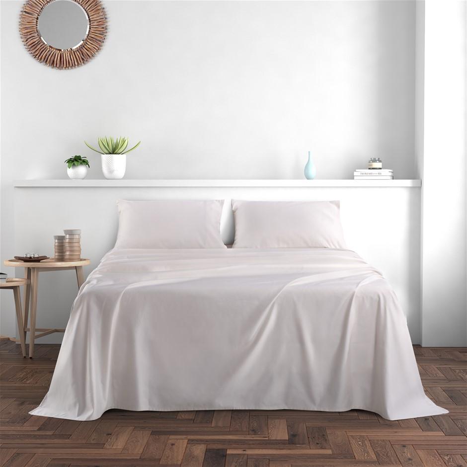 Dreamaker 1000TC Cotton Sateen Sheet Set Queen Bed Cream