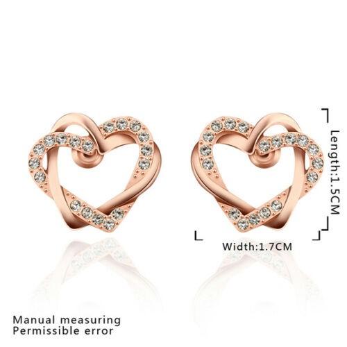 18K Rose Gold Filled Lovely Heart Stud Earrings - SWAROVSKI CRYSTAL