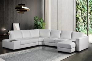 Lounge Set 6 Seater Bonded Leather Corne