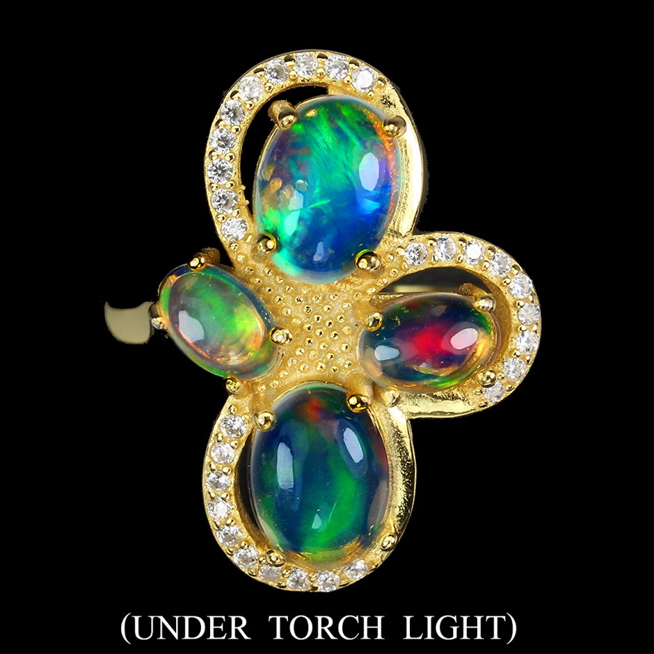 Beautiful Genuine Fire Opal Ring.