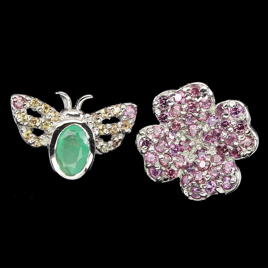 Beautiful Genuine Emerald & Garnet Bee Flower Ring.
