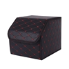 SOGA Car Boot Collapsible Storage Box Black/Red Stitch Small