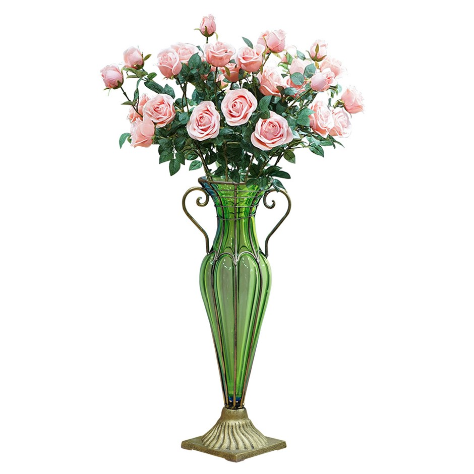SOGA Glass Flower Vase with 8 Bunch 5 Heads Artificial Rose Set