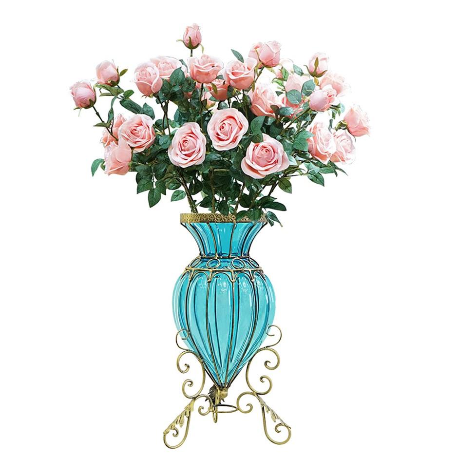 SOGA Glass Floor Flower Vase 8 Bunch 5 Heads Artificial Rose Set
