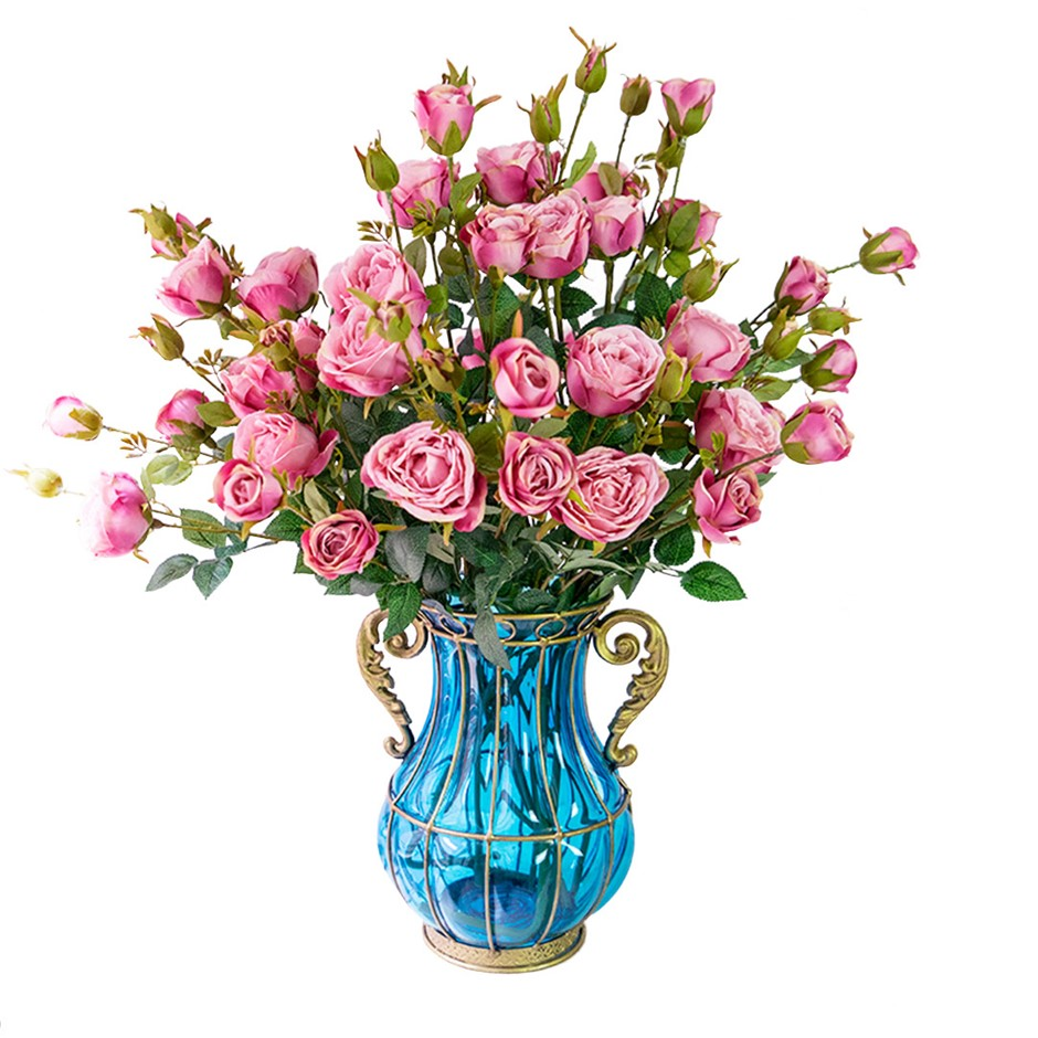 SOGA Glass Flower Vase with 10 Bunch 6 Heads Artificial Rose Set