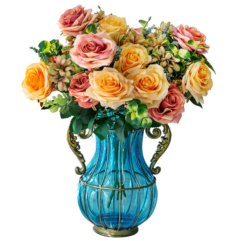 SOGA Blue Glass Flower Vase & 4 Bunch 11 Heads Artificial Rose Set