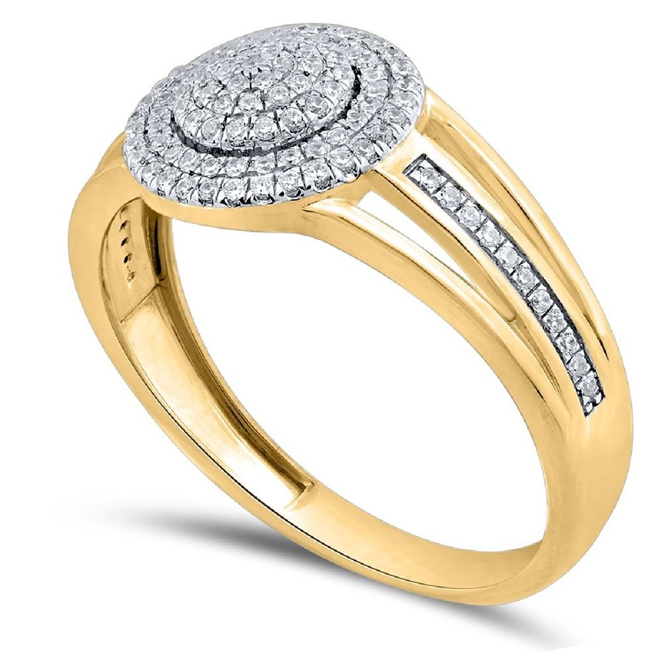 9ct Yellow Gold, 0.17ct Diamond Ring