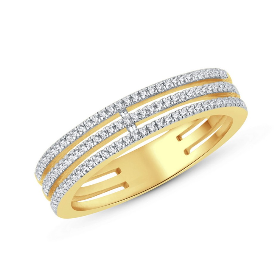 9ct Yellow Gold, 0.14ct Diamond Ring
