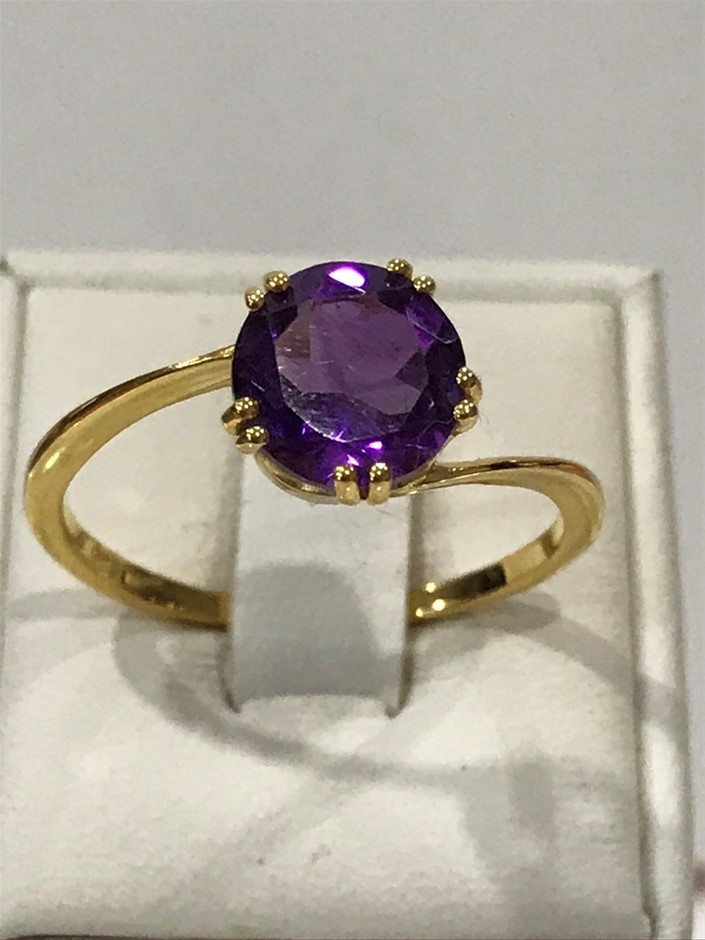 Glorious Amethyst Genuine 1.80ct& Yellow/Gold Vermeil Ring. Size R (8.75)