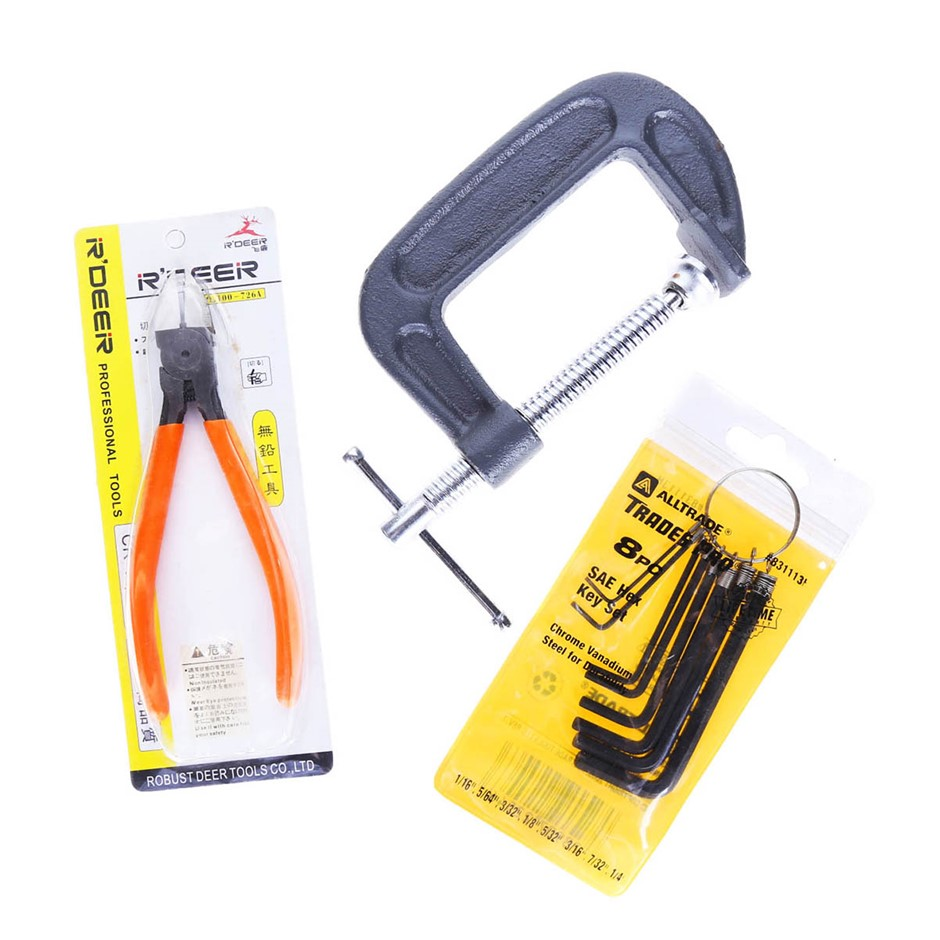 8 x Assorted Tools incl 3 x Hex Key Sets, 2 x 3`` G-Clamps and 3 x Pliers.