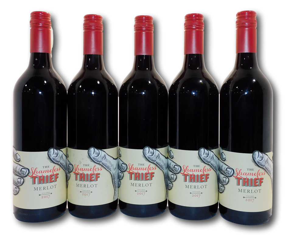 Zilzie Wines The Shameless Thief Merlot 2017 (5x 750mL), SA
