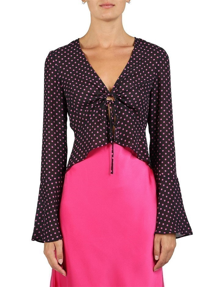 LULU & ROSE Luna Tie Front Top. Size XS, Colour: Pink Spot. 100% Polyester.