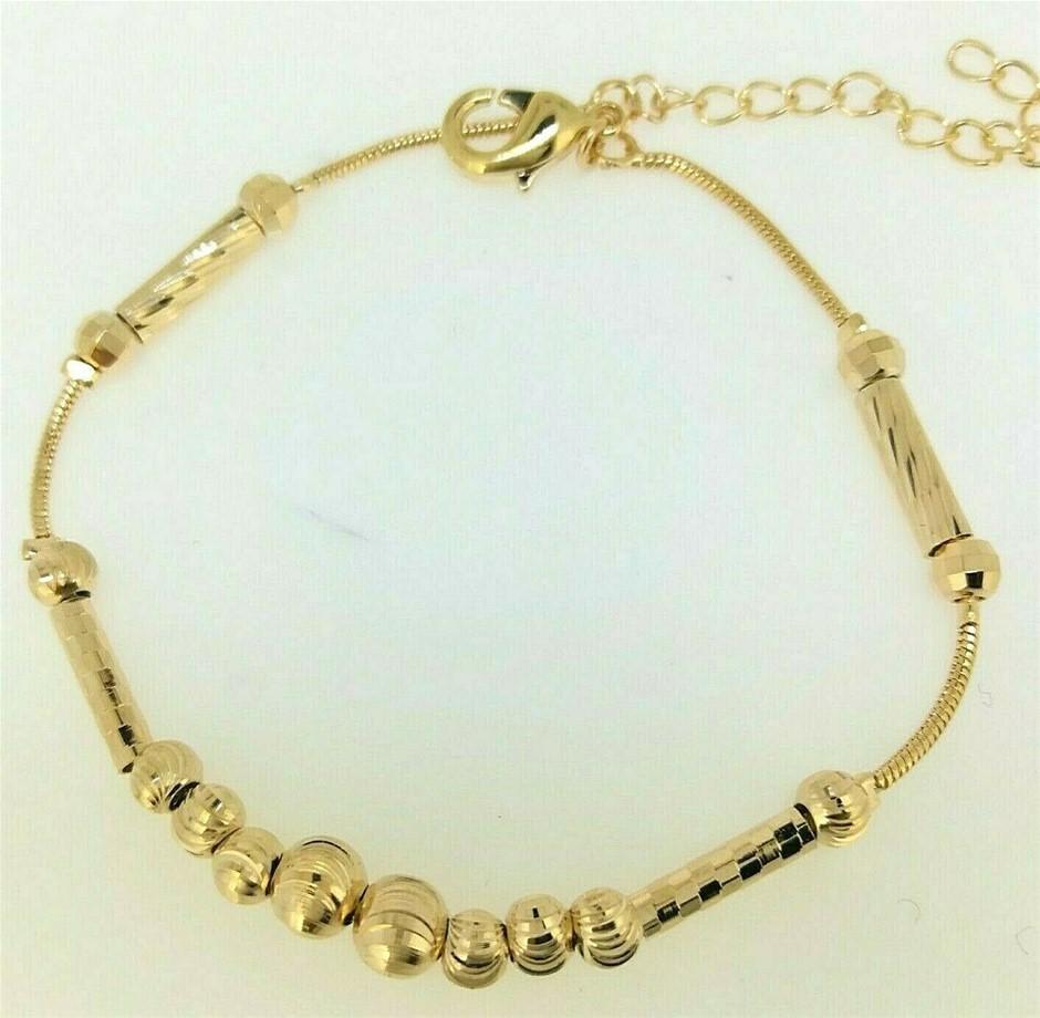 Elegant 18k Yellow Gold Filled GF Ball Chain Bracelet