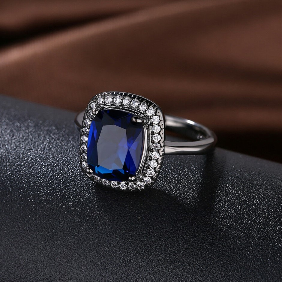 Classic 18k black Gold plated GF Sqare Blue CZ Woman ring Size 7