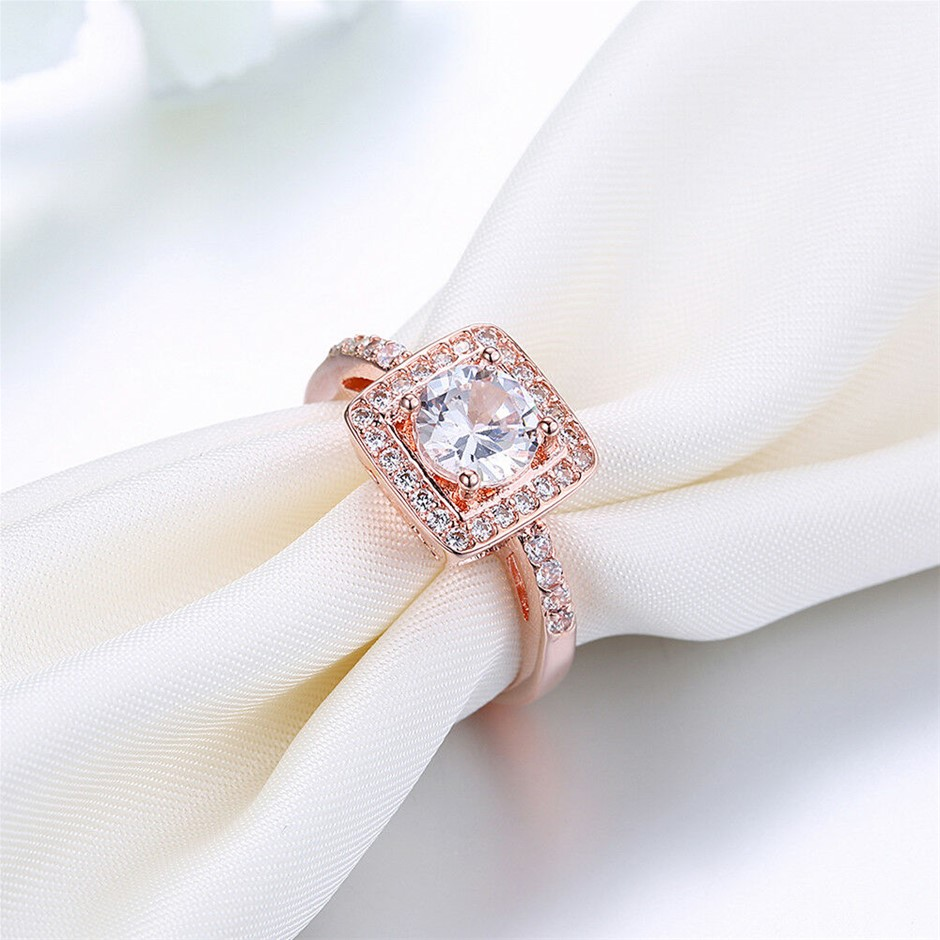 Classic 18k Rose Gold Filled GF Ring Wedding Gift CZ Woman Size 7