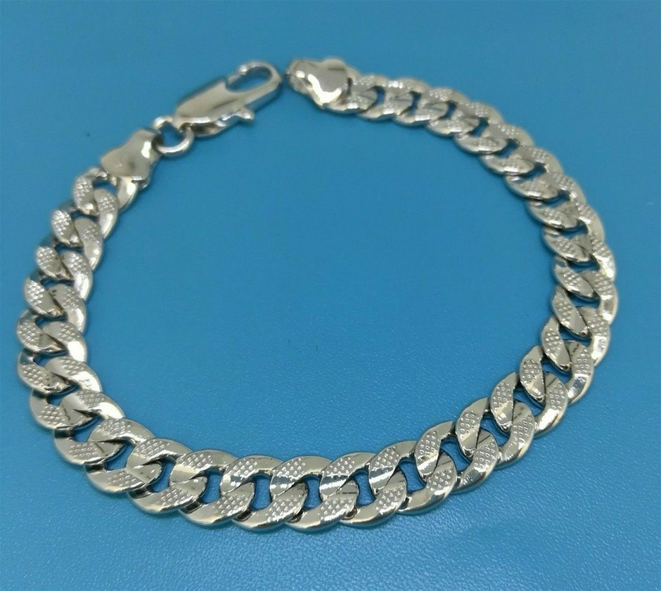 Elegant 18k White Gold Filled GF Curb Link Chain Bracelet