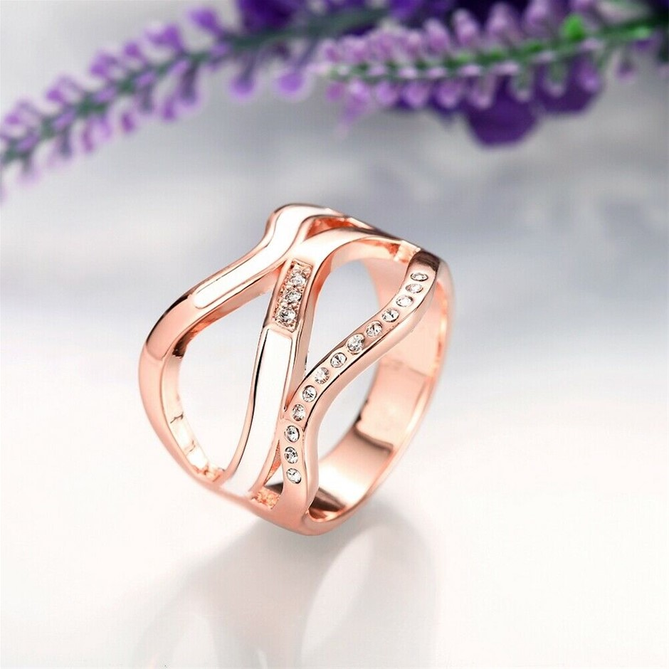 Classic 18k Rose Gold Filled GF Curve CZ Woman Filigree Ring
