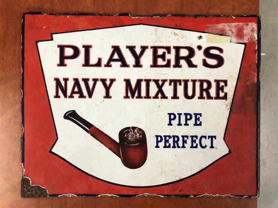 Authentic PLAYERS NAVY MIXTURE Double Sided Enamel Sign