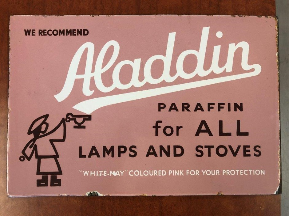 Authentic Aladdin Paraffin Double Sided Enamel Sign
