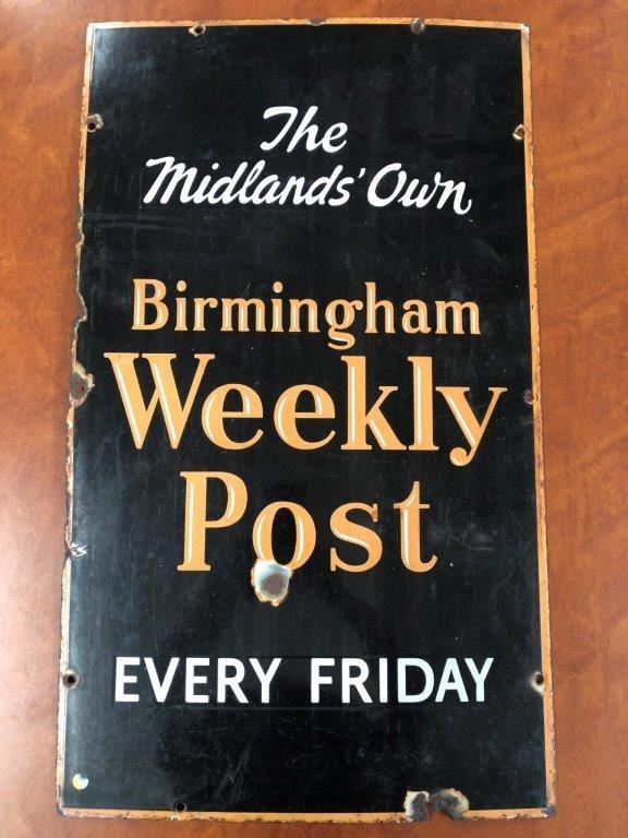 Authentic Birmingham Weekly Post Enamel Sign