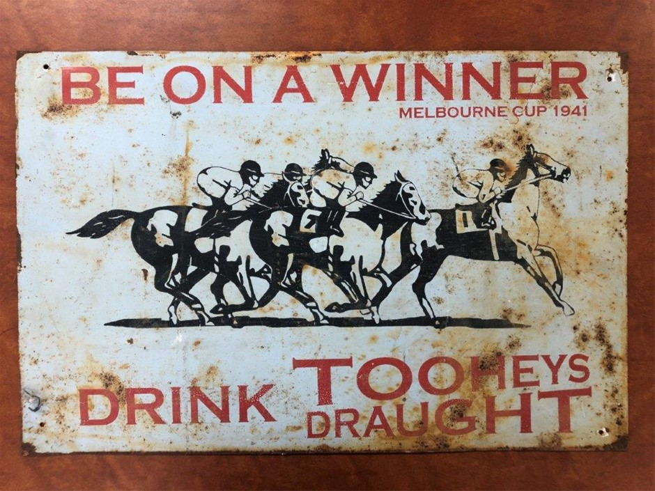 Authentic TOOHEYS DRAUGHT 1941 Melbourne Cup Sign