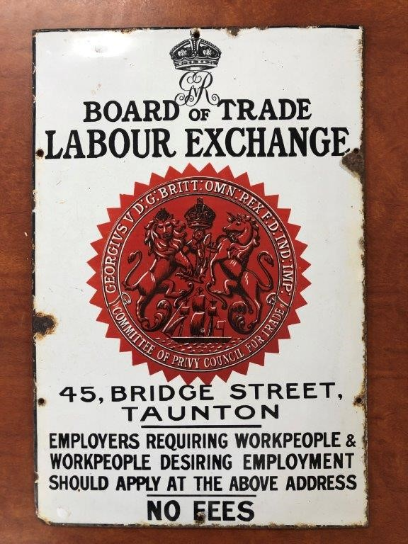 Authentic BOARD of TRADE LABOUR EXCHANGE Enamel Sign