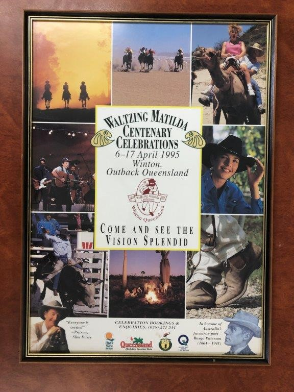 Authentic 1995 Waltzing Matilda Centenary Celebrations Picture in Frame