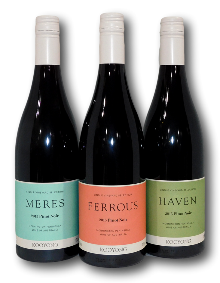 Mixed Kooyong SV Mornington Peninsula Pinot Noir 2015 (3x 750mL), VIC