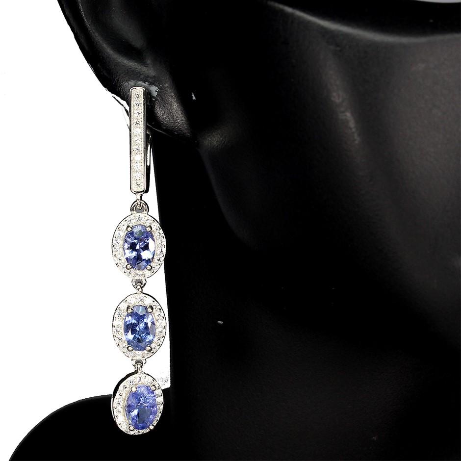 Divine Genuine Tanzanite Drop Earrings.