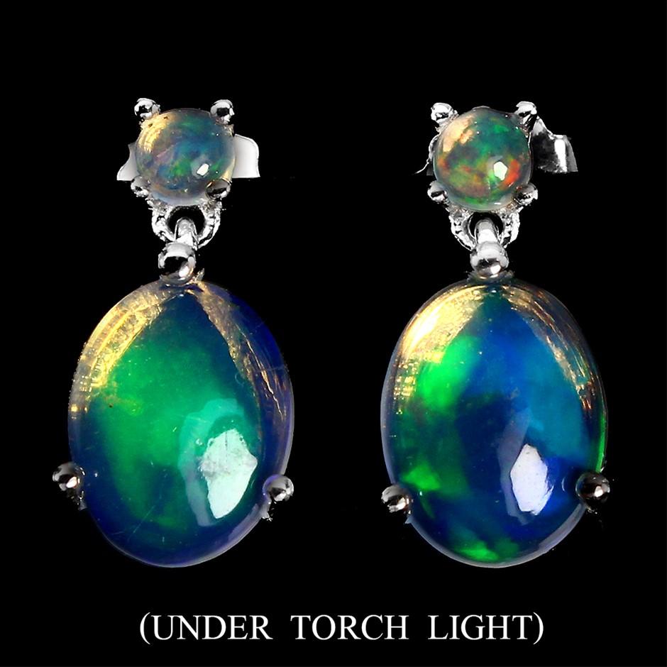 Beautiful Genuine rainbow Opal Earrings.